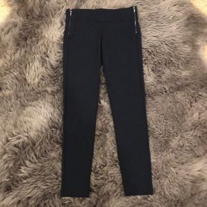 NWOT ZARA Navy ponte knit leggings with side zips.